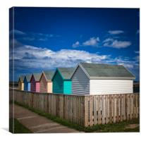 Colourful Beach Huts at Amble in Northumberland, Canvas Print
