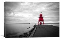 Herd Groyne Lighthouse in South Shields, Canvas Print