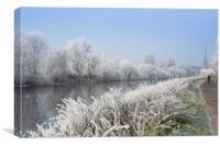Walk along a scenic river Severn on a frosty morni, Canvas Print
