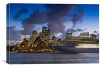 Ship on Sydney harbour at dusk, Canvas Print