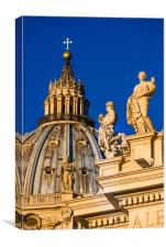 St Peter's Cathedral Cupola and religious statues, Canvas Print