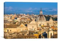 Historic Rome city skyline with domes and spires, Canvas Print