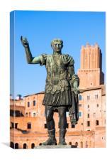 Emperor Trajan statue at Trajan's Market, Canvas Print