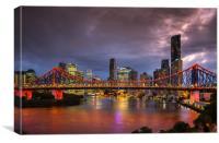 Story Bridge lit up after dark with Brisbane city , Canvas Print