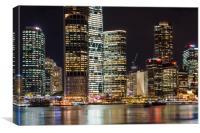 Brisbane city skyline after dark, Canvas Print