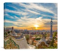 Guell Park Sunset, Canvas Print