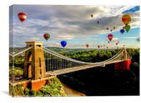 Hot air balloons over Clifton suspension bridge, Canvas Print