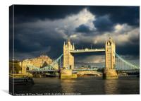 Tower bridge illuminated in a dark sky, Canvas Print