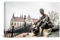 Attila Jozsef statue in Budapest, Canvas Print