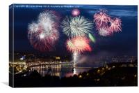 Fireworks over Derry City , Canvas Print