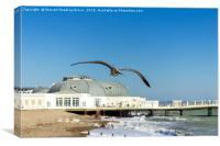 Seagull Heading Towards Worthing Pier, Canvas Print