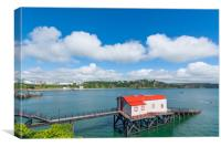 Old historic lifeboat station and slipway at Tenby, Canvas Print