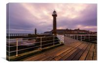 Whitby West Pier Light in Yorkshire, Canvas Print