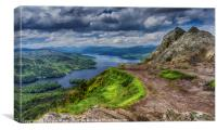 Loch Katrine from the top of Ben A'an, Canvas Print