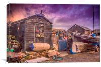 Sheds, Pettycur Bay, Canvas Print