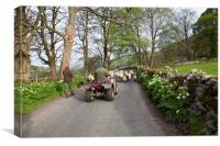 Farmers with a sheepdog moving sheep in Littondale, Canvas Print