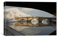 Old bridge over the river Aire at Ferrybridge, Canvas Print