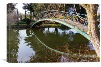 Footbridge with reflection., Canvas Print
