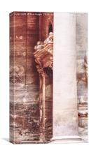 Pillar and carved doorway at the Treasury, Petra, , Canvas Print