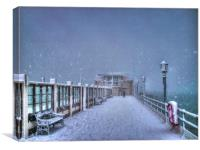 A very snowy Worthing Pier , Canvas Print