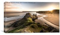 Sunset at Three Cliffs, Canvas Print