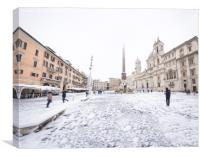 Piazza Navona in Rome covered with snow , Canvas Print