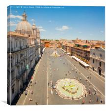 aerial view of Piazza Navona in Rome, Canvas Print