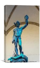 Bronze statue of Perseo with the head of Medusa, Canvas Print