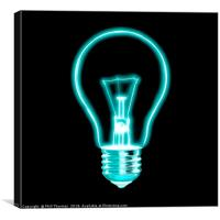 Outline of glowing light blue Light bulb, on black, Canvas Print