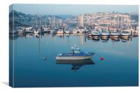 Sunrise over boats moored in Brixham harbour, Canvas Print
