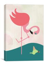 Flamingo had an ice cream, Canvas Print