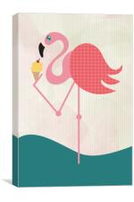 Flamingo has an ice cream., Canvas Print