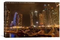Dubai marina at night, Canvas Print