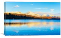 Winter reflections, Coniston Water, Canvas Print