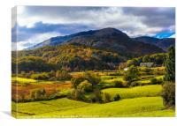 Autumn colours in Little Langdale, Canvas Print