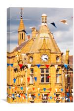 Bunting and public library, Canvas Print