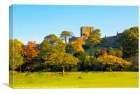 Autumn colours below Clitheroe Castle, Canvas Print