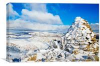 Snowy cairn on Swirl How, Canvas Print
