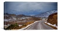 Highland road and mountains, Canvas Print