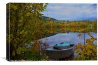 Boat on Semsvannet Lake, Canvas Print
