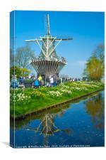 Windmills at Keukenhof Gardens, Netherlands, Canvas Print