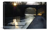 Frozen Canal at Sunset, Canvas Print