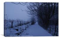 Snowy Lane at Dusk, Canvas Print