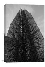 Canary Wharf Tower and Tree, Canvas Print
