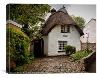 White Thatched Cottage, Canvas Print