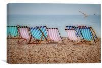Deckchairs on the Beach, Canvas Print