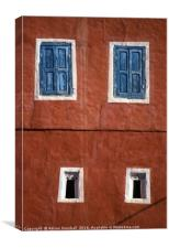 Moroccan wall and windows, Canvas Print