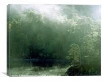 Morning mist on Loch Beinn a' Mheadhoin in Glen Af, Canvas Print