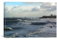 Coast - Tynemouth big sea running , Canvas Print