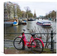 Amsterdam - red bike , Canvas Print